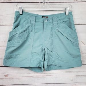Royal Robbins muted blue cargo-like shorts